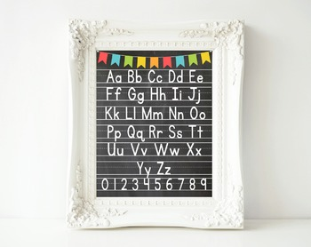 Alphabet and Numbers Poster- Printable 16x20 Size