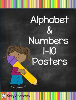 Alphabet and Numbers Rainbow Chalkboard Poster Set
