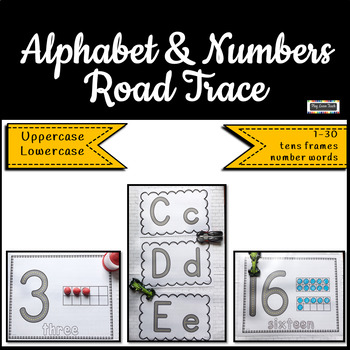 Alphabet and Numbers Road Trace Playdough Mats