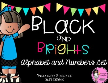 Alphabet and Numbers Set Black and Brights