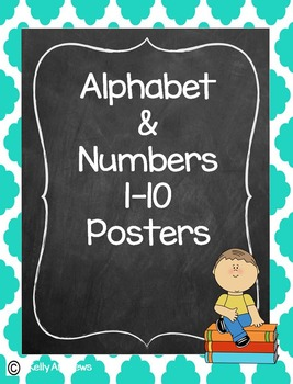 Alphabet and Numbers Turquoise Quarterfoil Poster Set