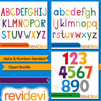 Alphabet and Numbers standard clip art bundle (3 packs)