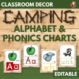 Alphabet and Phonics Anchor Charts in Camping Wood Theme