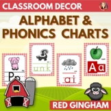 Alphabet and Phonics Anchor Charts in Red Gingham