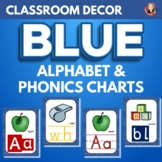 Alphabet and Phonics Anchor Charts in Watercolor Blue