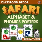 Alphabet and Phonics Anchor Charts in Zebra Theme