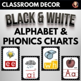 Alphabet and Phonics Anchor Charts with Black and White Background