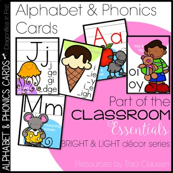 Alphabet and Phonics Cards - Light and Bright