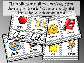 Alphabet and Phonics Cards THE BUNDLE (Silver/Gray Glitter Chevron)