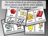 Alphabet and Phonics Cards THE BUNDLE (Silver/Gray Glitter