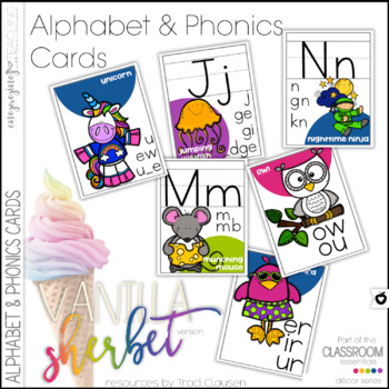 Alphabet and Phonics Cards - Vanilla Sherbet