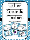 Alphabet and Phonics Letter Sounds Posters: Blue Chevron a