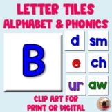 Alphabet and Phonics Letter Tile Clip Art | Digital or Pri