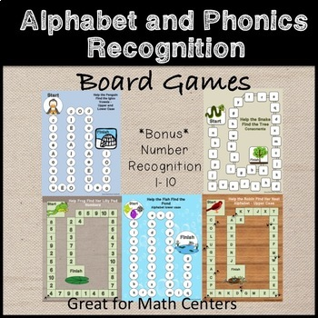 Alphabet and Phonics Recognition Board Game *LA Centers*