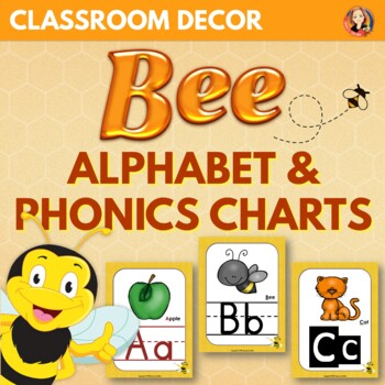 Alphabet and Phonics Sounds Anchor Charts in Bee Theme