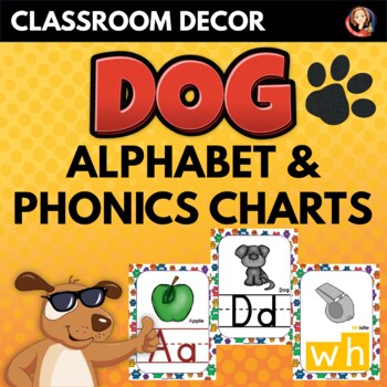 Alphabet and Phonics Sounds Anchor Charts in Dog Paws Theme