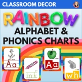 Alphabet and Phonics Sounds Anchor Charts in Rainbow Theme