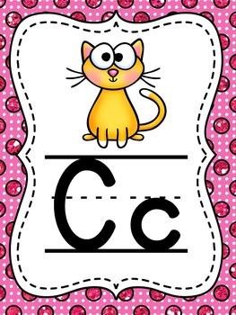 Glitter Polka Dot Alphabet Posters