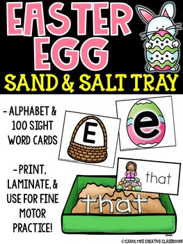 Alphabet and Sight Word Writing - Salt and Sand Tray Cards (Easter Version)