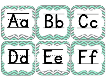 Alphabet and Word Wall-Aqua and Gray Chevron Chic {with Editable File}