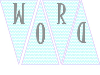 Alphabet and Word Wall Blue Chevron