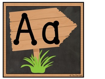 Alphabet and Word Wall Cards: Chalkboard and Wooden Signs