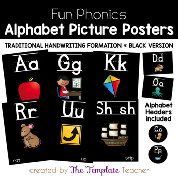 Alphabet Posters and Word Wall Headers {Black Version}