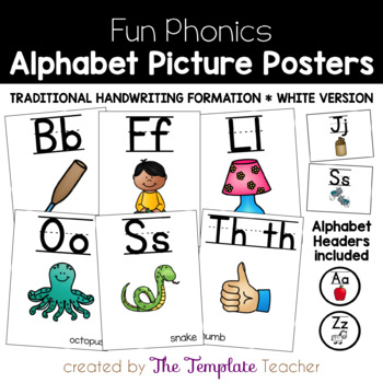 Alphabet and Word Wall Headers Posters {White Version}
