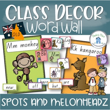 Alphabet and Word Wall Pack Classroom Décor in QLD Font