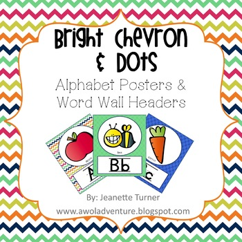 Alphabet and Word Wall Poster Classroom Decor in Chevron and Dots