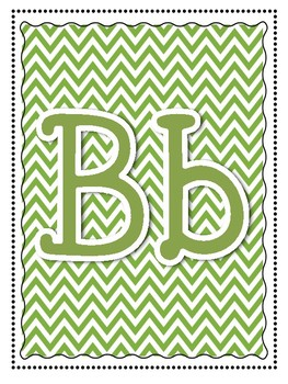 Alphabet and Word Wall Poster Printables in Green Chevron Pattern