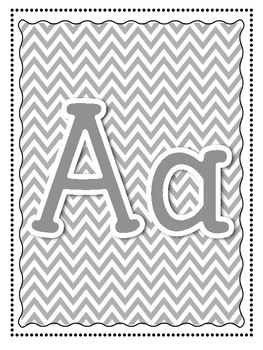 Alphabet and Word Wall Poster Printables in Grey Gray Chevron Pattern