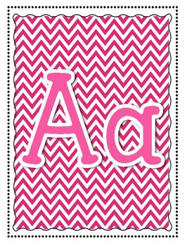 Alphabet and Word Wall Poster Printables in Pink Chevron Pattern