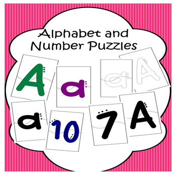 Alphabet and number puzzles a to z and 0 - 10