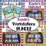 Alphabet and numbers Workstations- My Dog Cassie Learning Centers BUNDLE
