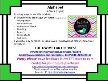 FREE Alphabet {English} apple - zoo