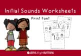 Alphabet beginning / initial sounds worksheet - Print font - NO PREP