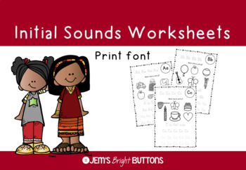 Alphabet beginning / initial sounds worksheet - Print font - NO PREP