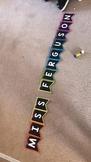 Alphabet bunting - black background and rainbow dots.