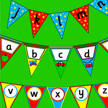 Alphabet bunting- three sets- color and black and white