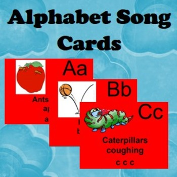 Alphabet cards and songs for each letter of the alphabet