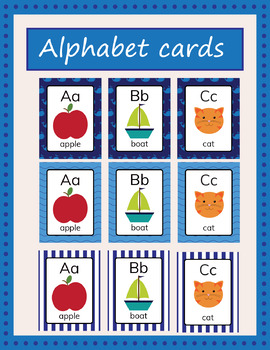 Alphabet cards, beginning sounds nautical
