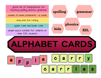 Alphabet cards for to play with - manipulative tool - kids and ESL