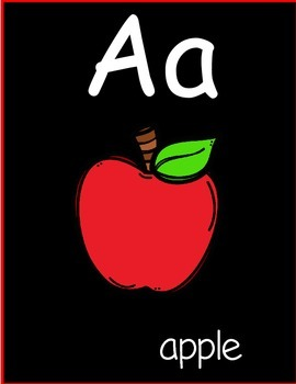 Alphabet cards with Black Background