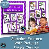 Alphabet cards with Pictures Classroom Decor- Purple Chevron