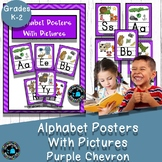 Alphabet cards with Pictures Classroom Decor- Purple Chevron