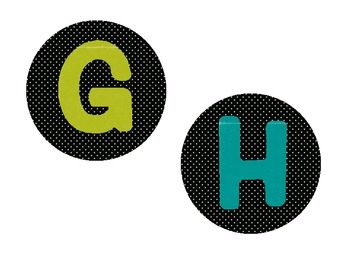 Alphabet circles in Black and White Dots