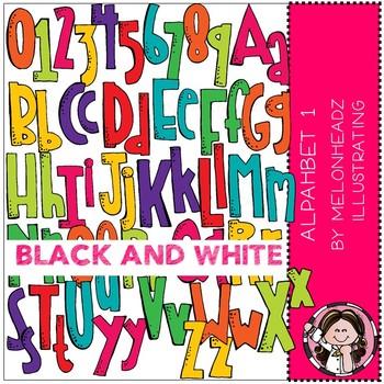 Alphabet clip art - Set 1 - BLACK AND WHITE - by Melonheadz