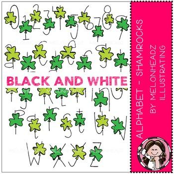 Alphabet clip art - Shamrock - BLACK AND WHITE - by Melonheadz