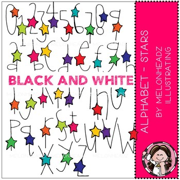 Alphabet clip art - Stars - BLACK AND WHITE - by Melonheadz